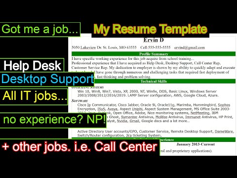 I Got My Job Using This Resume For Help Desk And Desktop Support
