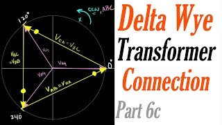 Introduction to the Delta Wye Transformer Connection Part 6c: Voltage Phasor Diagram