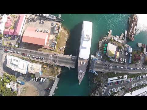 Steve Jobs Yacht Venus going through Simpson Bay bridge