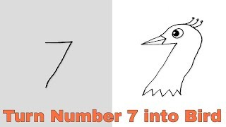 How to Turn Number 7 into Cartoon Bird | Easy Drawing Step by Step For Kids