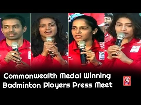 Commonwealth Medal Winning Badminton Players Press Meet At Pullela Gopichand Academy | V6 News