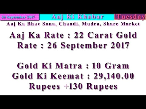 Aaj Ka Rate Gold, Silver, Currency, Share Market 26 September 2017 India Market News in Hindi