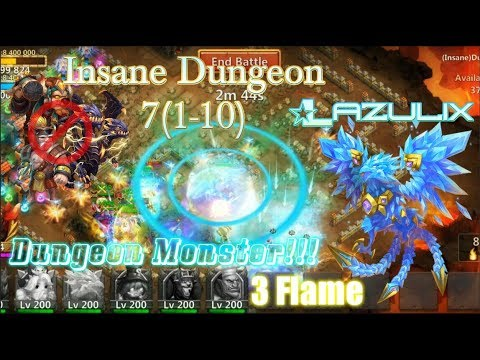 Lazulix Monster 3Flame Insane Dungeon 7(1-10) Without Troops & P2P Heroes - Castle Clash
