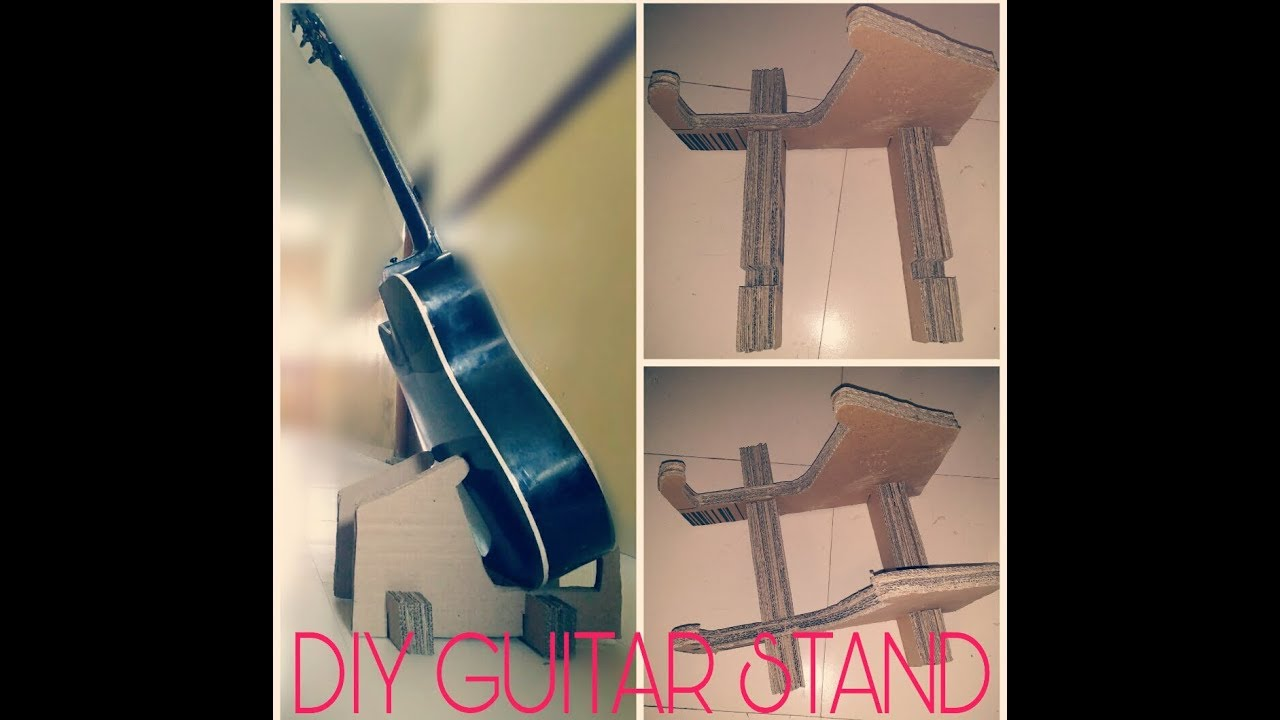 How To Make Cardboard Guitar Stand At Home Guitar Stand Diy Guitar