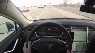 Tesla Model S P85D TACC & Collision Avoidance Demonstration