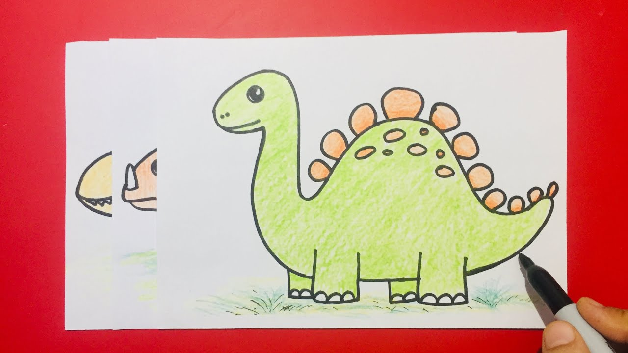3 Easy and Simple Dinosaurs Drawing for kids How to Draw ...