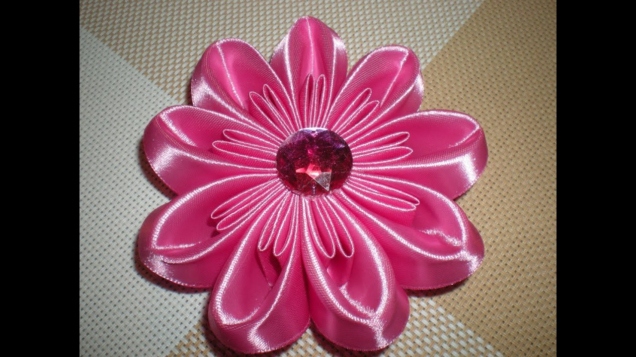 Объёмный цветок канзаши