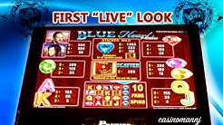 "Blue Heart Slot - First ""LIVE"" Look - LIVE PLAY! - Slot Machine Bonus"