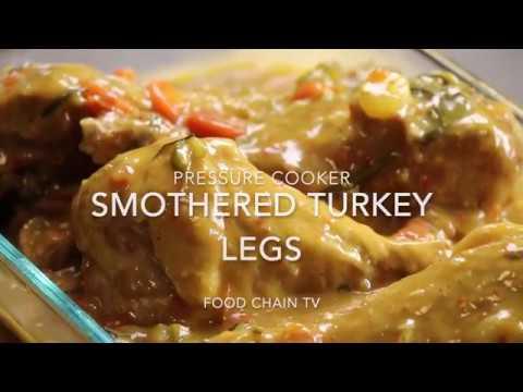 Pressure Cooker Smothered Turkey Legs Drumsticks Recipe