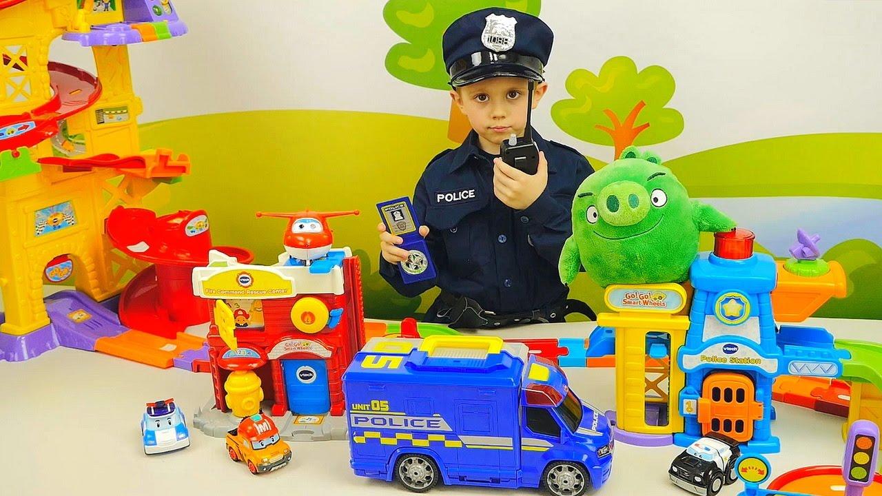 Полицейский мальчик  Даник и Поли Робокар с Супер Крыльями спасают непослушный автобус Тайо