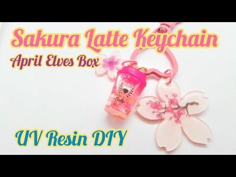 UV Resin DIY Sakura Latte Keychain April Elves Box 2019