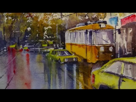 Martin Stephenson's Live Stream - How to paint a wet street scene.