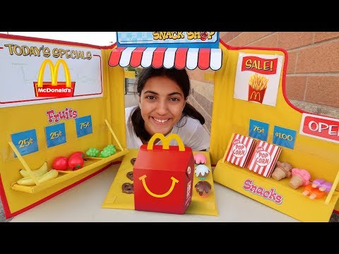 Hadil playing Restaurant and selling toys food - HZHtube kids fun