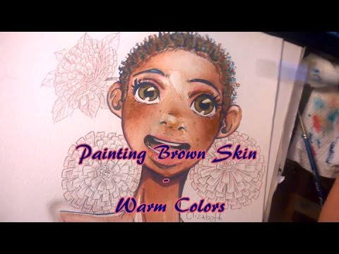 Brown Skin with (mostly) Warm Colors ~ Watercolor Paint