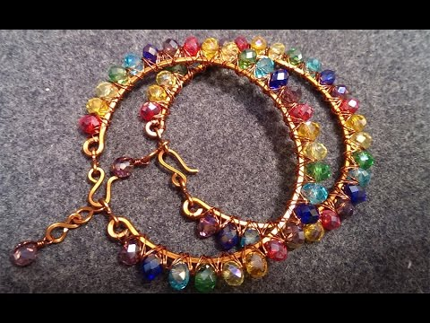 How to make wire bracelet with colour rainbow stone