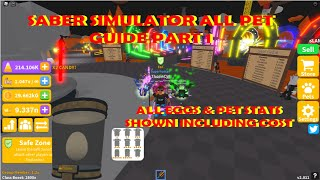 Saber Simulator All Pet guide Part 1 All Pets from Ground Island