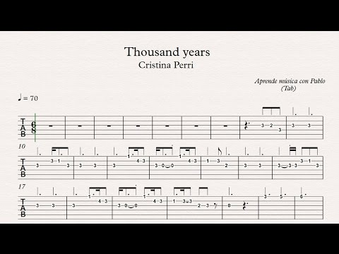 THOUSAND YEARS: TAB (guitarra...) (tablatura con playback)