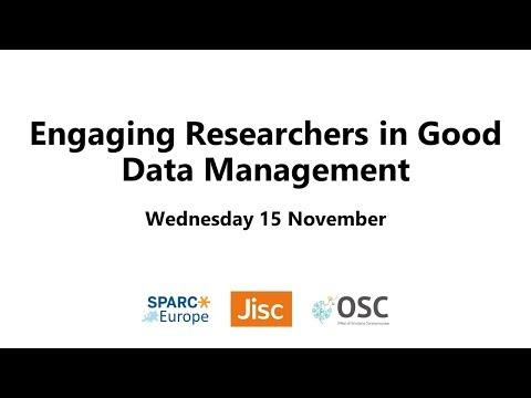 #EngageRDM: Data Stewardship: Addressing disciplinary data management needs