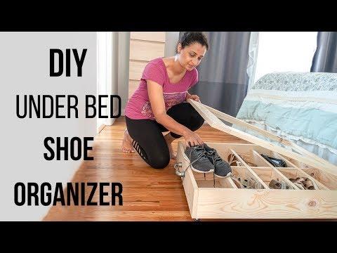 DIY under bed shoe organizer - Easy beginner woodworking project