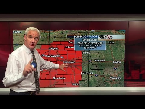 Tornado watch until 2 a.m. for central Indiana