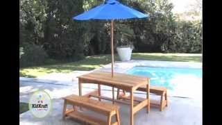 Kidkraft Rectangle Table & Benches With Blue Umbrella - Item 00043