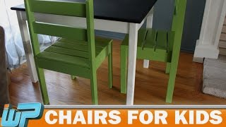 In this video I show you how to make chairs for kids. I got the plans from Ana White: http://ana-white.com/2010/11/plans/four-dollar-
