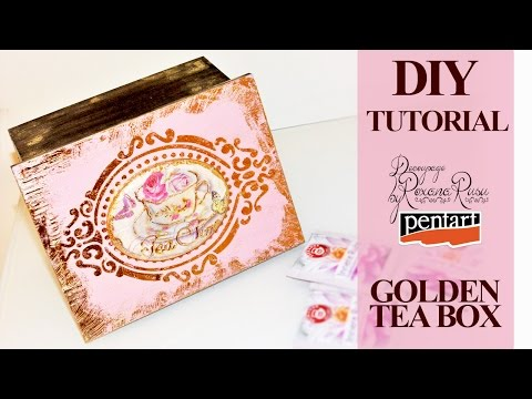 How to decoupage on wood - Decoupage Tutorial Tea Box with Pentart gold foil