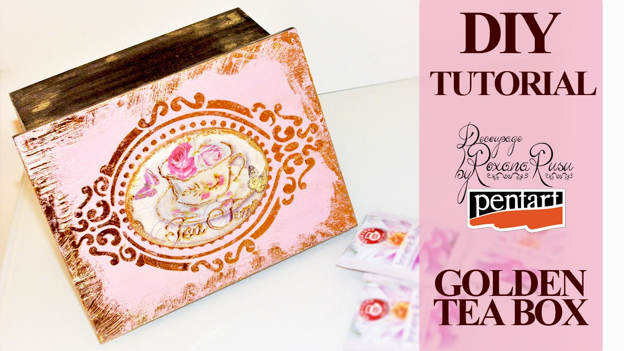 How to decoupage on wood decoupage tutorial tea box with for Wooden box tutorial