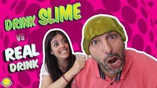 DRINK SLIME vs REAL DRINK 4 Bebida Real vs Bebida de Slime 4 Bego y Jordi! Momentos Divertidos