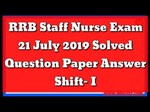 RRB Staff Nurse Exam 20 July Shift-II Question Answer|RRB Staff