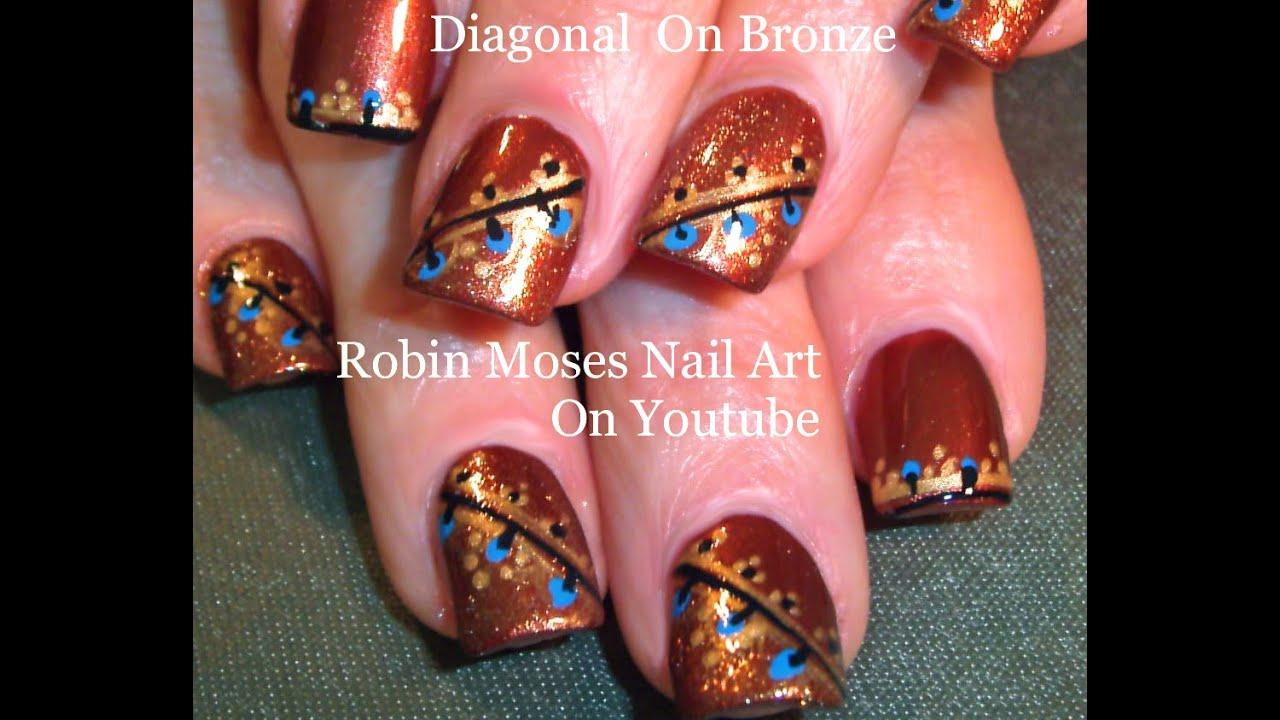 Easy Fall Nail art | Diagonal Nails Design Tutorial for Thanksgiving ...