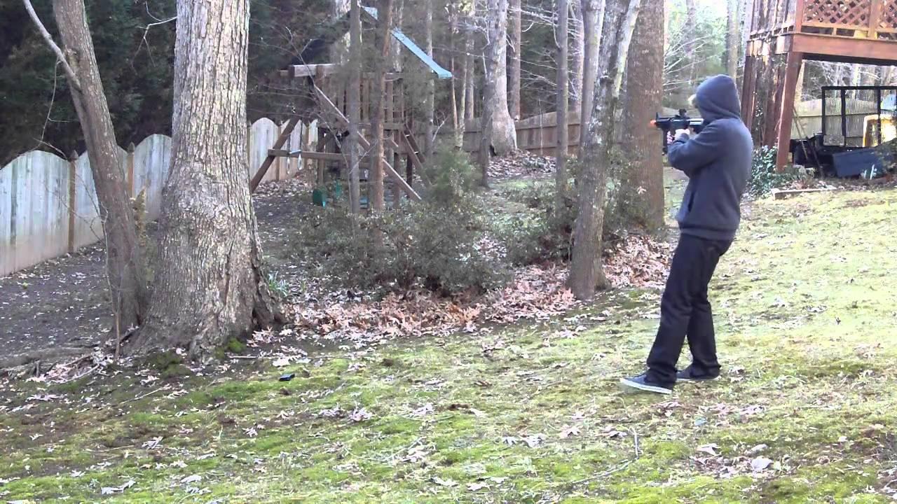 Backyard Airsoft Wars Part - 50: Backyard Airsoft War - CYMA AK47 Tactical RIS / JG M4 CQB-R