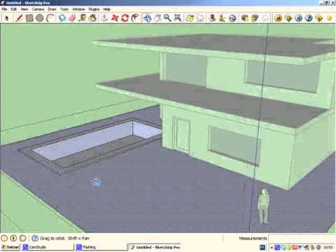 Sketchup tutorial 1 simple house modeling youtube for Minimalist house sketchup