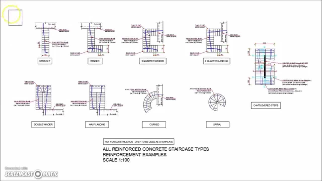 All Types Of Reinforced Concrete Stairs Reinforcement Plan Views   YouTube