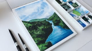 Water Coloring Painting Tutorial | Easy Landscape | Gouache Watercolor Painting For Beginners | #2