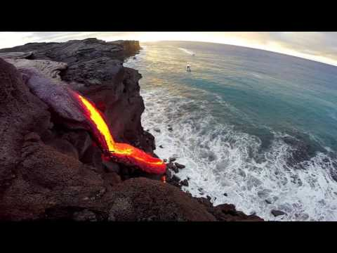 8 - 09 - 16 Hawaii Lava Flow Ocean Entry - Gopro