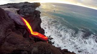 Repeat youtube video 8 - 09 - 16 Hawaii Lava Flow Ocean Entry - Gopro