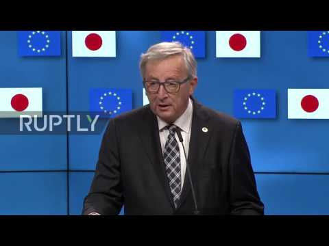 Belgium: Abe and EU sign free trade deal in Brussels