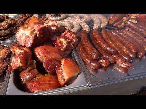 Grilled Sausage, Grilling Meat,Street Food in Slovakia, Fair in Banská Bystrica 2017