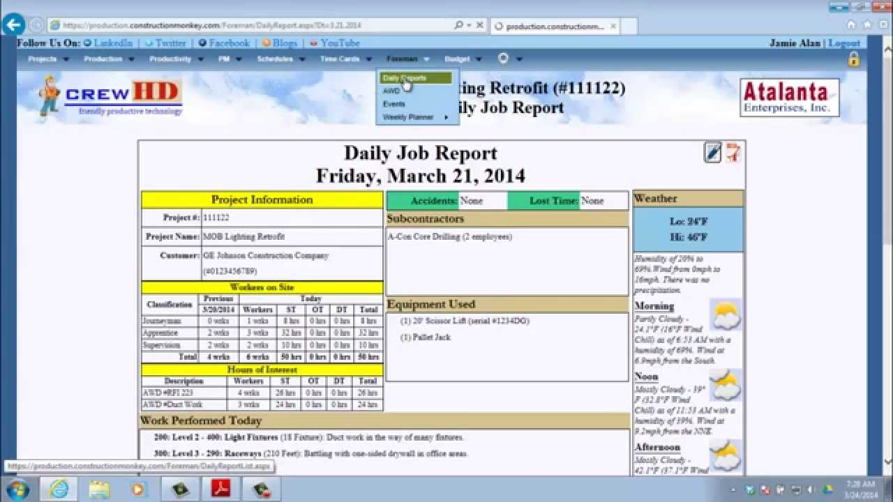 crewHD - How to create a Daily Job Report - YouTube