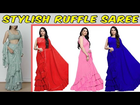 Stylish Ruffle/Frill Saree @ Unbelievable Price Ll Online Shopping Ll COD Available Ll Prititrendz
