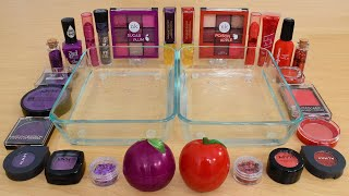 Plum Purple vs Red Apple - Mixing Makeup Eyeshadow Into Slime ASMR 299 Satisfying Slime Video