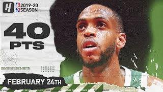 Khris Middleton 40 Pts Full Highlights   Bucks vs Wizards   February 24, 2020