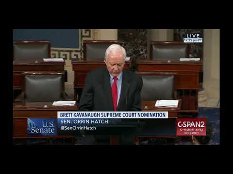 9-24-18 Senator Hatch Speaks On Senate Floor Regarding Brett Kavanaugh SCOTUS Nomination