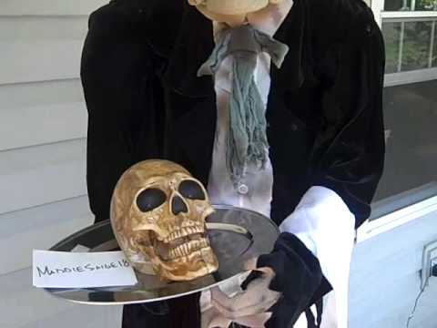 haunted halloween prop animated butler talking skull youtube - Talking Skull Halloween