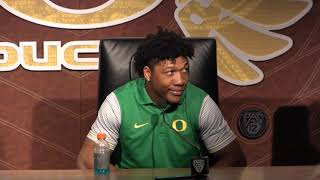 Oregon football's Justin Herbert, CJ Verdell and Calvin Throckmorton discuss win over Washington