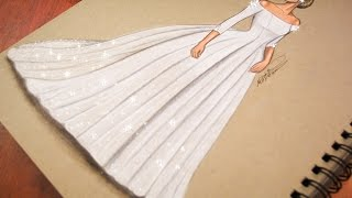 رسم وتصميم فستان زفاف | تعليم رسم ازياء - رسم فستان عروس