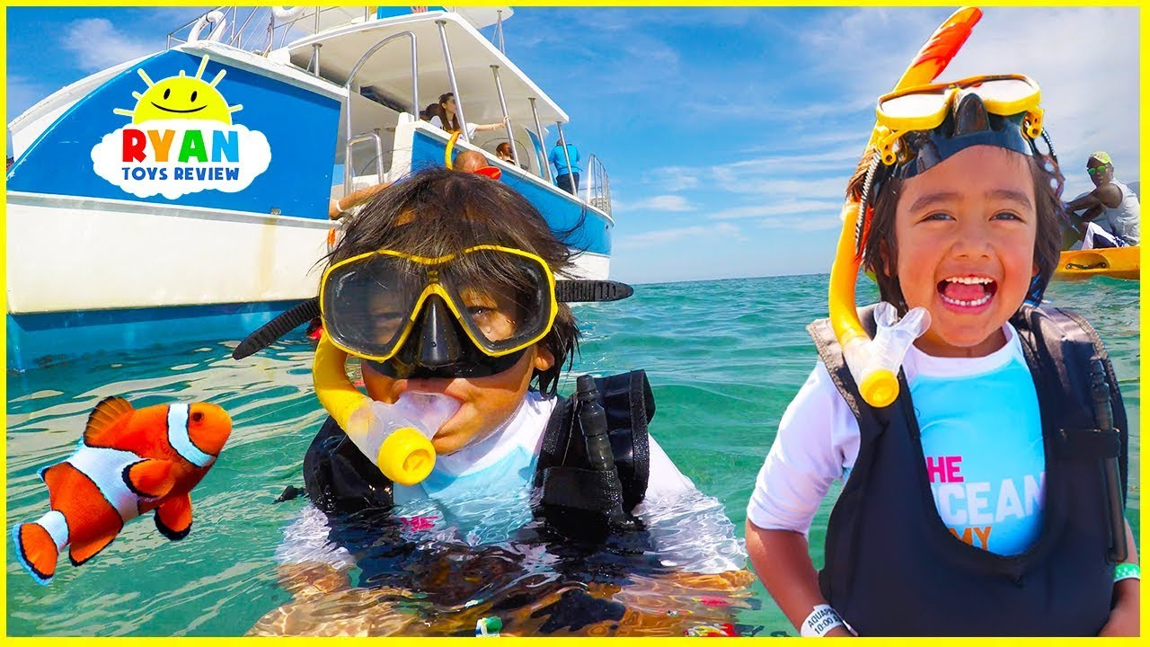 Ryan Snorkeling for the first time with underwater ocean animals!!!