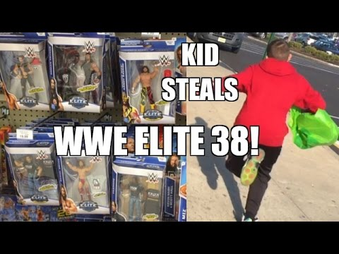 KID STEALS WWE Elite 38 Mattel Wrestling Figures From Fat Toy Hunter at Toysrus