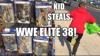 KID STEALS WWE Elite 38 Mattel Wrestling Figures From Fat Toy Hunter at Toysrus